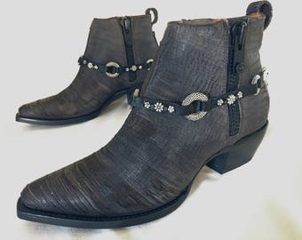 Black leather boot bling with silver mesh links