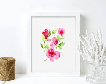 Pink Watercolor Art Print Abstract Flower Gift For Her Original  Nursery Art Print - Floral 11