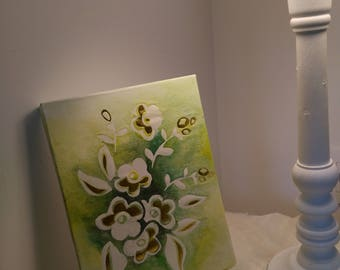 Painting in watercolor, watercolor canvas, white and gold flowers for your home decor patterns