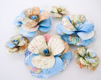 Small Travel Paper Roses, Map Paper Flowers, Stem Roses, Map Paper Wedding Decor, Travel Theme Party, Craft Project, Vintage Paper Flower
