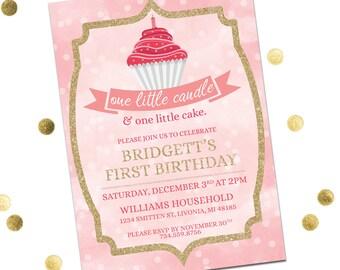 First Birthday Invitation Girl, One Little Candle & One Little Cake Invitation, Pink First Birthday Invitation, Printable Invitation