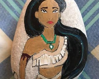 Disney Pocahontas painted rock, rock painting, princess