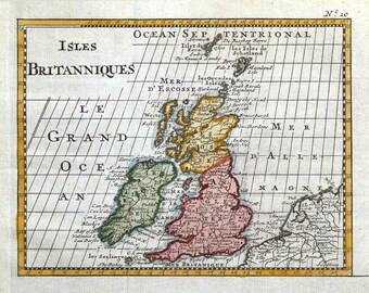 BRITISH ISLES, Isles Britanniques, Bossuet original antique map c1725