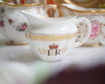 Sale 30% off : Vintage Royal Crown Derby creamer for Diamond Jubilee of HM Queen Elizabeth II