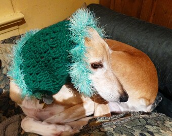 Handmade Crochet Hound Snood Saluki Sighthound One of a Kind Green