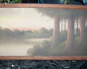 antique landscape oil on board