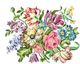 Victorian blooms - Victorian Cross stitch pattern . Instant download PDF