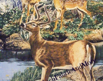 Bolt End- Deer in the Woods Large Fabric Panel~Cradle Rock~Buck~Fawn~Doe~Animals~Wildlife~Wall or Quilt~Springs Creative~Bargain Bin
