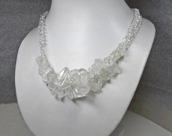 Wire Crochet Rock Crystal Quartz Statement Necklace - Chunky Crystal Statement Necklace - Organic Bib jewelry - Workplace Jewelry