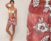 Floral Swim Shorts Vintage Swim Trunks 80s Bathing Suit Hawaiian Tropical Swim Bottoms Hipster Swimsuit Vintage Retro Large
