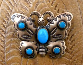"""Vintage Copper & Turquoise Stone BUTTERFLY Brooch,Pin  2"""", Southwest Style"""