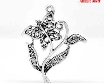 Flower/Butterfly 40x31mm CHARMS Tibetan silver charm