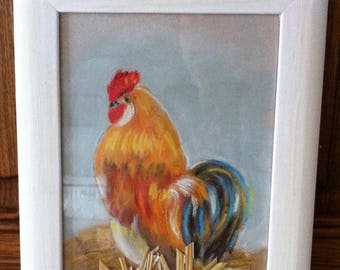 Rooster table to the pastel, and natural straw coaster