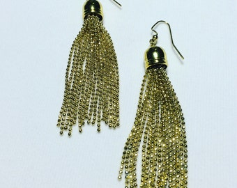 Gold tassel earrings, chandelier earrings, gold earrings, women gift, tassel earrings, statement earrings, party earrings