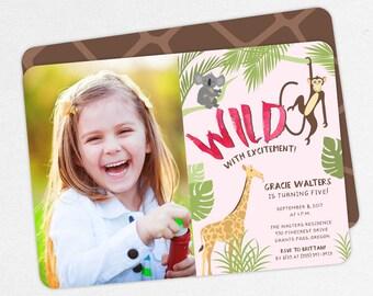 Jungle Birthday Invitation, Photo Birthday Invitation PDF, Printable Birthday Invitation, Girl Invitation, Safari, Zoo, Giraffe, Wildly