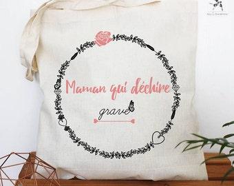 Tote bag Mama tearing serious