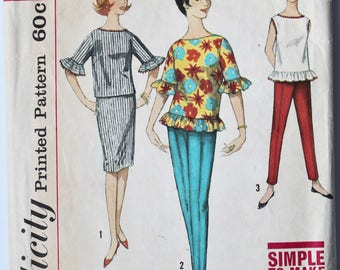 Vintage 1960s Women's Pants, Skirt, and Ruffled Top Sewing Pattern Size 14 Bust 34 Simplicity 4270