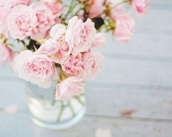 Still Life Photography - Pink Bouquet Roses Soft Feminine Photo Nature Print Botanical Art Love Nursery Decor Girls Room Pastel Dreamy Photo