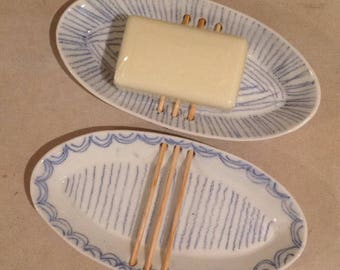 Soap Dish - swooped line pattern - MADE TO ORDER