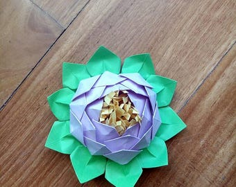 Origami water lily, lotus flower placeholder origami, origami waters, paper flowers, wedding decorations