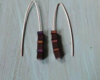 Sterling Silver Wire earrings with black square beads