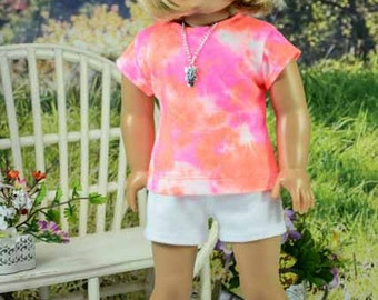 Tie Dye Pink Orange TEE Shirt and NECKLACE  White Knit Shorts and Sandals Option for American Girl or 18 Inch Doll