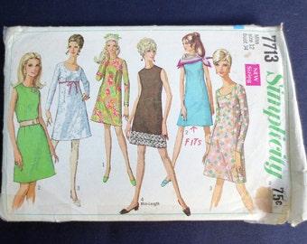 1968 A-Line Dress Vintage Pattern, Simplicity 7713, Size 12, Bust 34