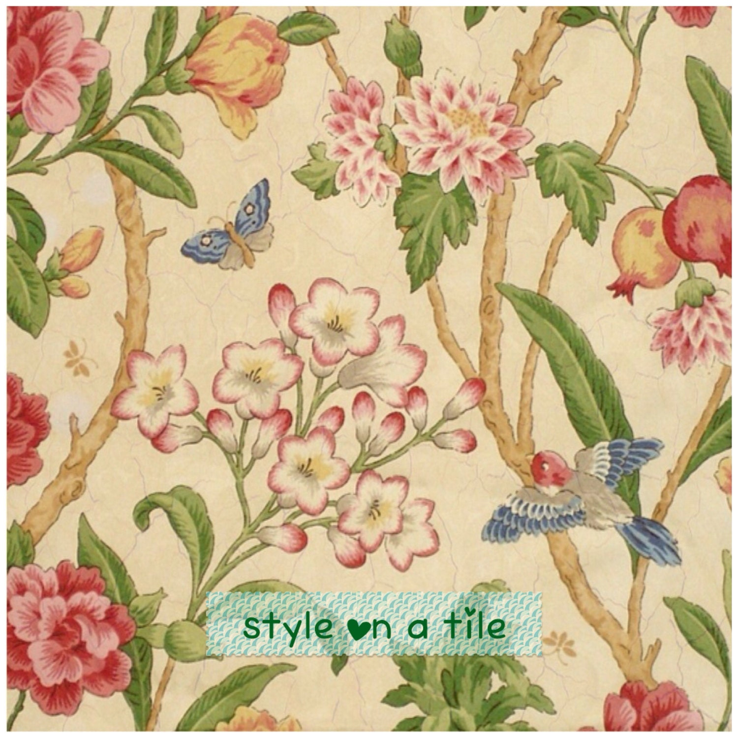 Lovely Tropical Bird Butterfly flower shabby chic chintz small