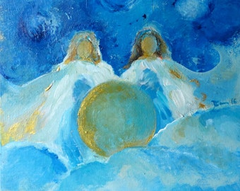 "Print on Canvas Angel ""Star Sisters"" 12 x 12 inch Waldorf"
