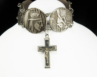 Vintage Greek Religious Bracelet Crucifix Fob charm Ancient coin hinged silver cuff