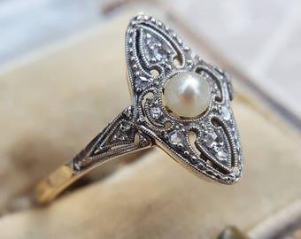 Art Deco 14ct Yellow Gold, Platinum, Pearl & Diamond Marquise Navette Ring