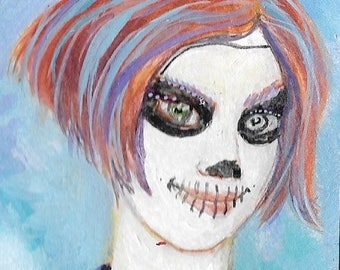 Trick or Treat -  Original Painting ACEO Art Card