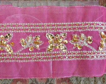 Hot Pink Gold Sequined Trim