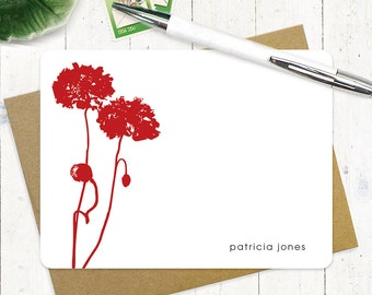 personalized flat note cards stationery set - POPPIES - set of 12 - personalized stationary - choose color