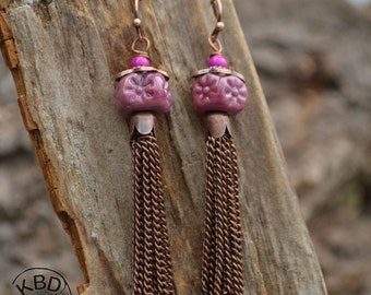 Dusty Rose Tassel Earrings