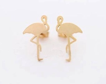 1 Pair, Flamingo Stud Ear Finding - Choose Your Colour
