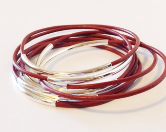 Brick Red  Leather Bangle Bracelet with Gold or Silver Tube Accents, Tube Bangles, Tube Bracelets