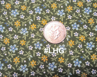 Floral Print, Tiny flowers on a Green background, Andover, Little House on the Prairie