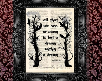"Dictionary Art Print - ""Vintage Edgar Allan Poe Poem - Dream Within a Dream"" Up cycled dictionary page print, Nevermore, Goth art"