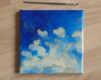 Œuvre artistique abstrait Tableau de nuages beiges et bleus Décoration moderne