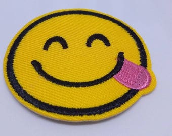 Emoji Sassy Tongue Sticking Out Sew/Iron on Patch Embroidery
