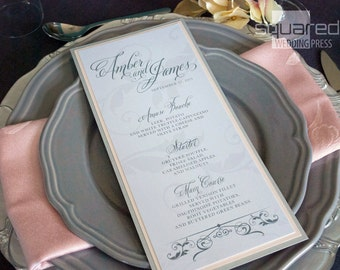 Haute Grey Bespoke Menu Cards - DEPOSIT - Silver and Gray Wedding Reception - Reception Menus, Custom Design Wedding Reception Decor Event