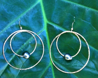 14KT Gold filled hoops w/ Tahitian Pearls
