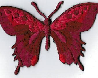 Garnet Burgundy Butterfly embroidered iron or sew patch. Applique Patch 7.5 x 5.5 cm