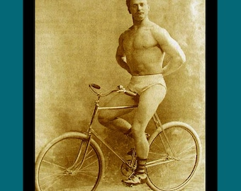 Bicycle card / birthday card / greeting card / moving house card. From a vintage victorian photograph of a bodybuilder..