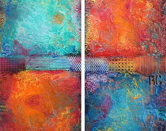 """60""""x60"""" ORIGINAL Huge Abstract Painting Textured MODERN (2 30x60 Wood Panels) Colorful Fine Art by Maria Farias"""
