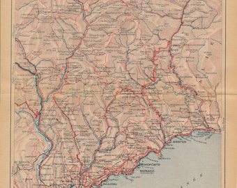 1926 French Riviera, Provence, Monaco, Nice France Antique Map