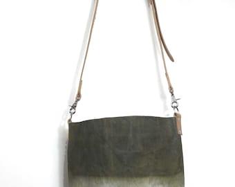 Waxed Canvas Bucket Bag - Khaki Drab - Leather Cross Body Strap