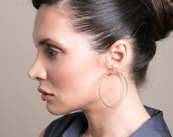 Gold extra large hoop earrings - handmade wire work - crocheted wire work jewelry - giant hoops unique hoop earrings