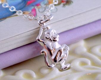 Little Monkey Necklace, Sterling Silver, Genuine Gemstone, Child Children Girl, Cute Fun Animal Charm, Real Birthstone Jewelry